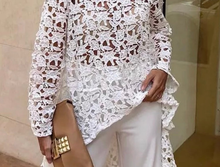 White Lace High Low Draped Top With Long Sleeves