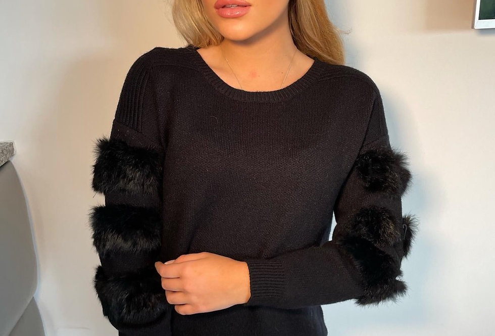 Black Fur Sleeved Jumper