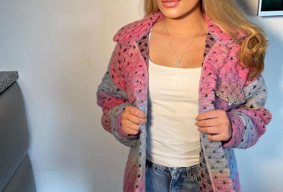 Rainbow Wool Over Shirt Jacket