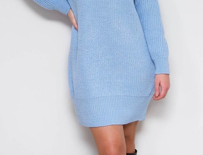 Blue Roll Neck Jumper Dress