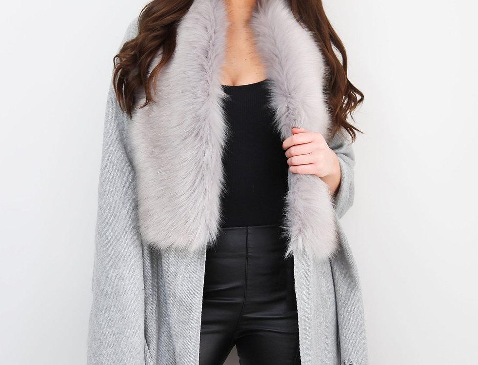 Grey Faux Fur Collar Poncho