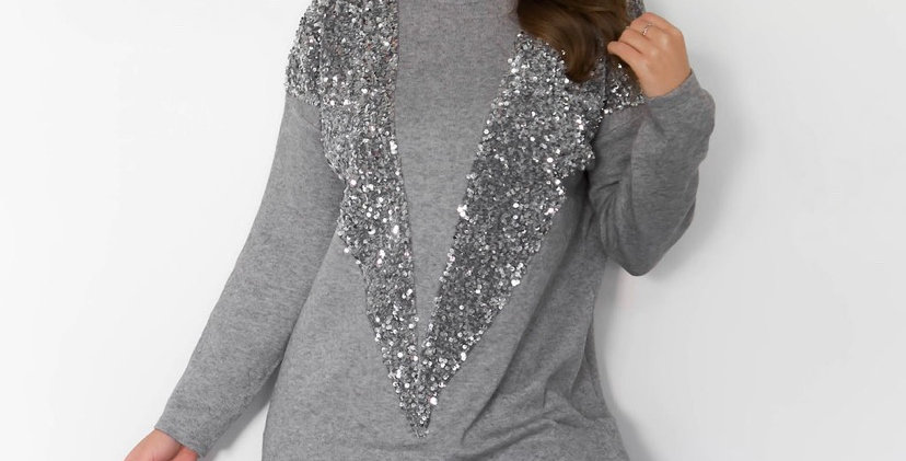 Grey Glitter Jumper Dress