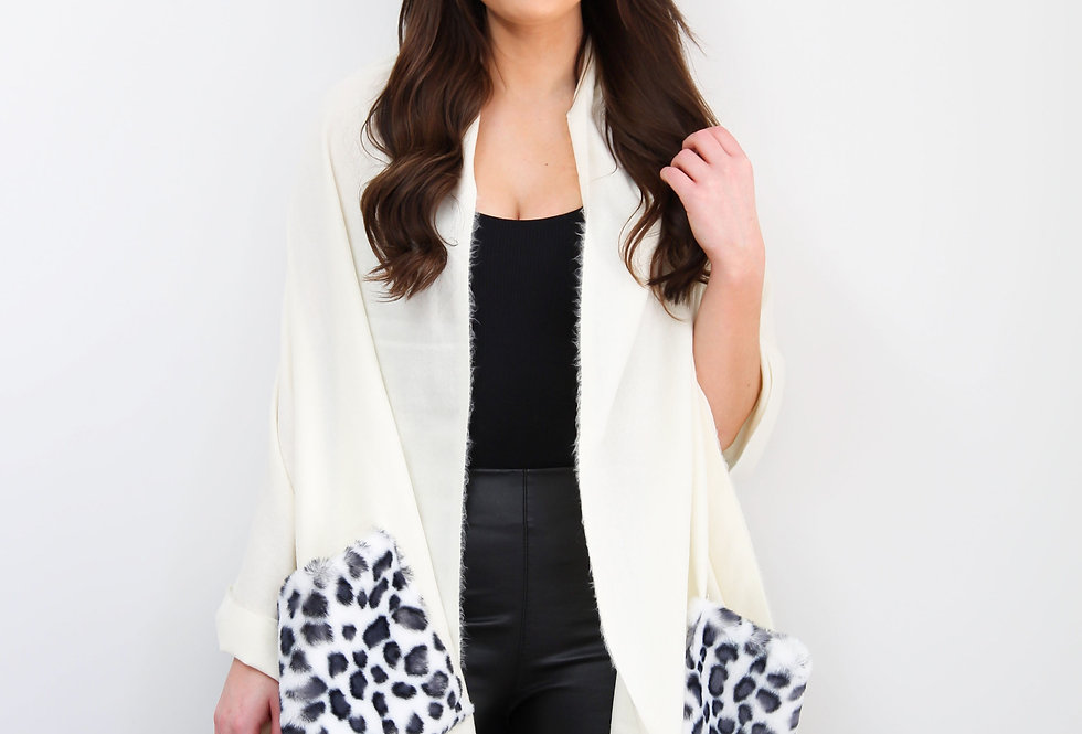 Cream Leopard Print Pocket Poncho With Fringe Trim