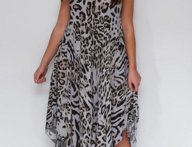 Grey Leopard Print Genie Dress