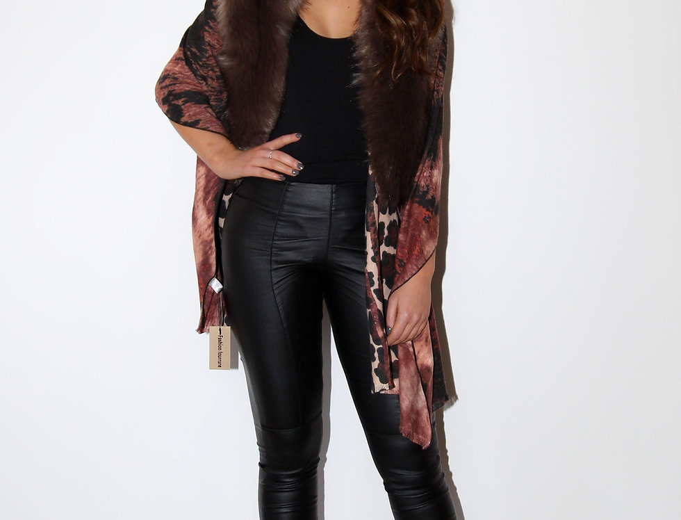 Luxury Leopard Print Wrap With Faux Fur Collar