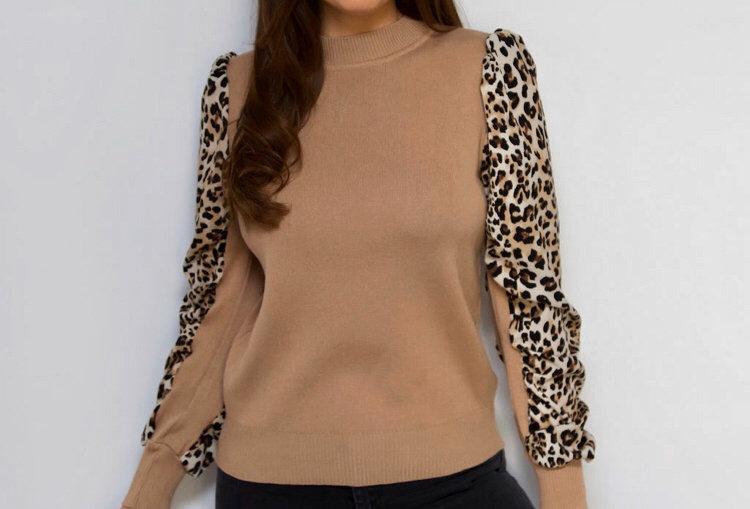 Leopard Print Sleeved Jumper