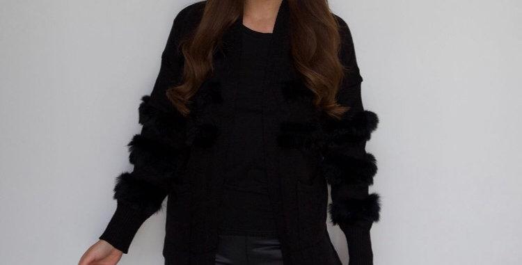 Black Fur Patch Sleeve Cardigan