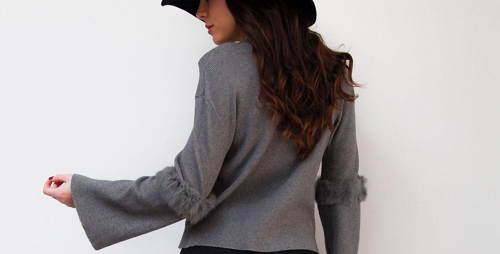Grey Fur Elbow Jumper