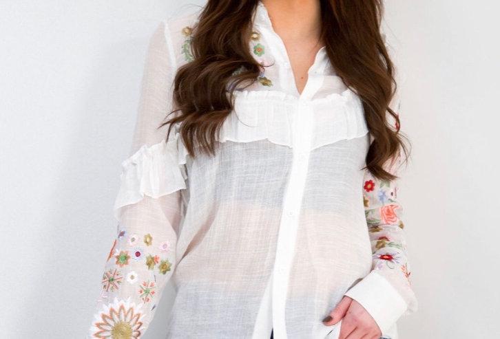 White Flower pattern Blouse