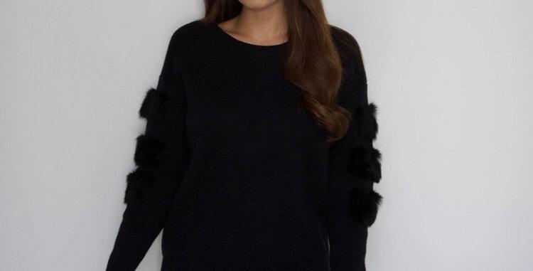 Black Fur Patch Sleeved Jumper