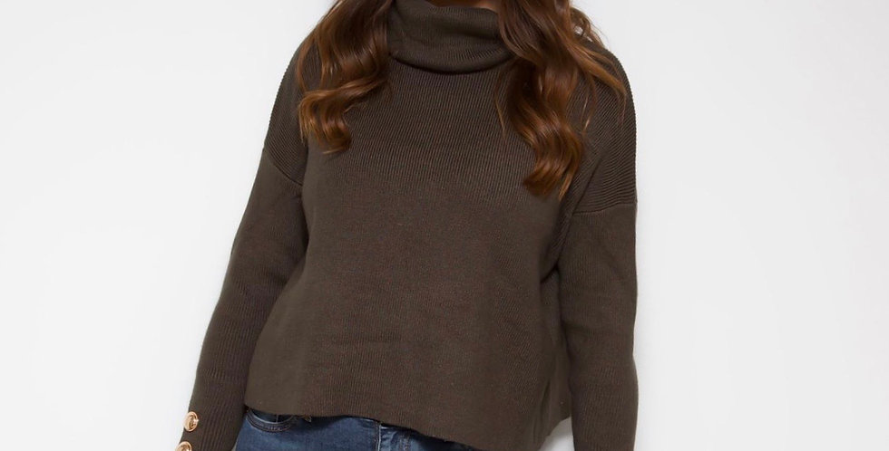 Khaki Roll Neck Jumper