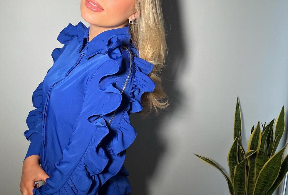 Blue Zip Sleeved Blouse