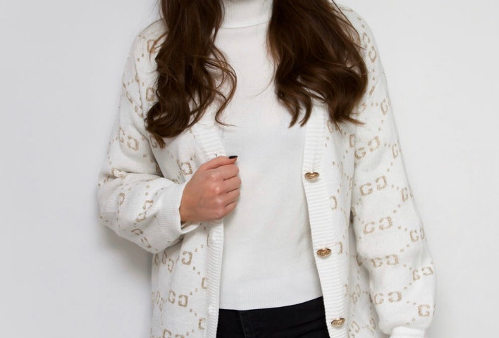 White CC print Cardigan