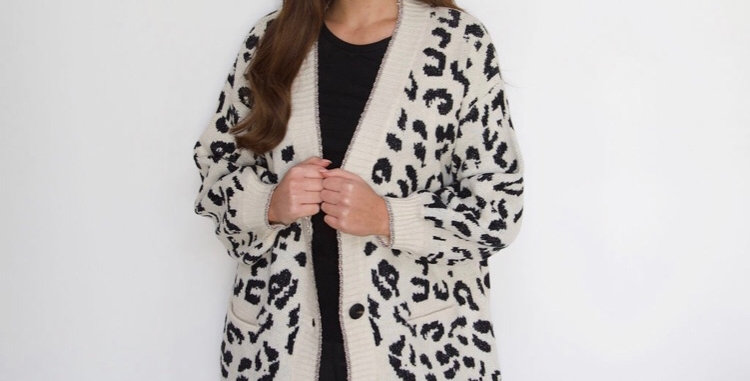Cream Leopard Print Cardigan