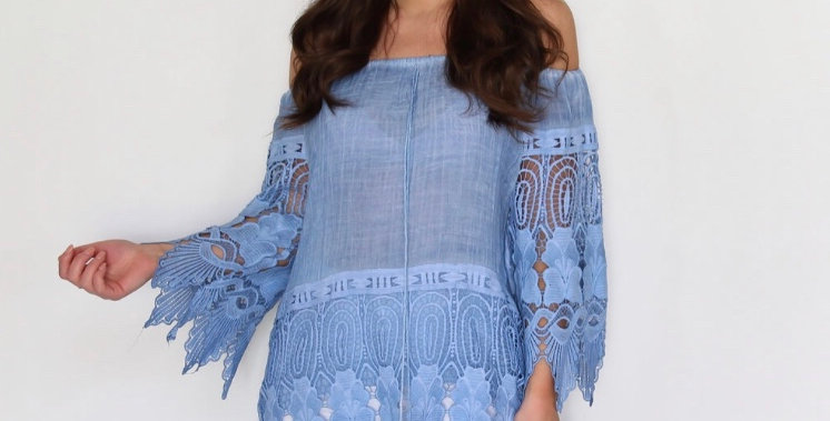 Blue Lace Detail Bardot Top