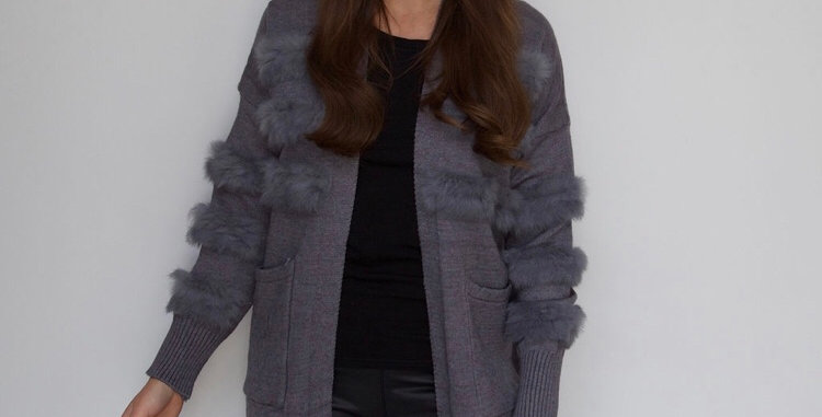 Grey Fur Patch Sleeve Cardigan