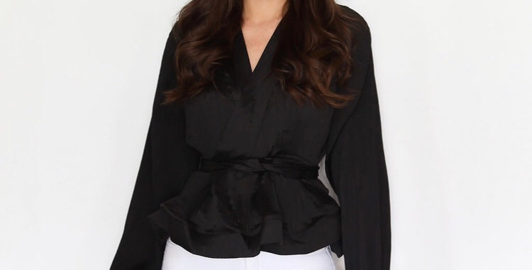 Black Frilly Trim Wrap top