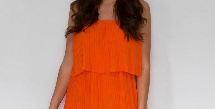 Orange Pleated Playsuit