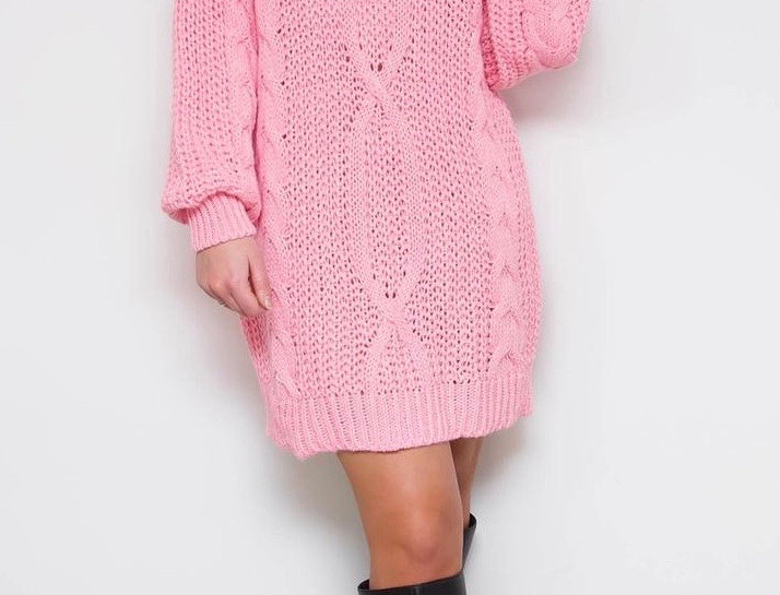 Pink Knit Jumper Dress