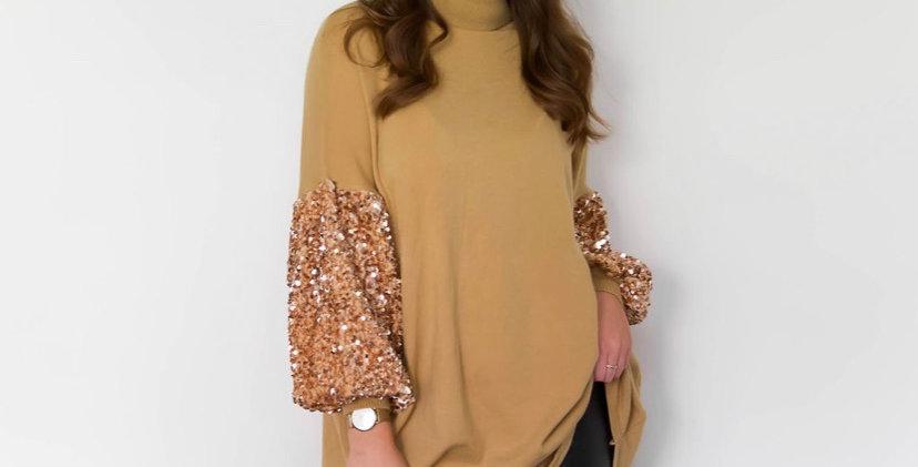 Mustard Glitter Sleeve Jumper Dress