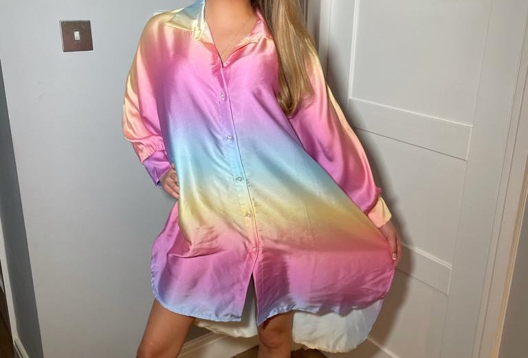 rainbow Print Shirt Dress