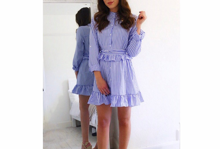 Blue Striped pleated dress