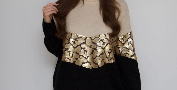 Black/Gold Sequin Detail Jumper