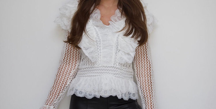 White Lace Frilly Top