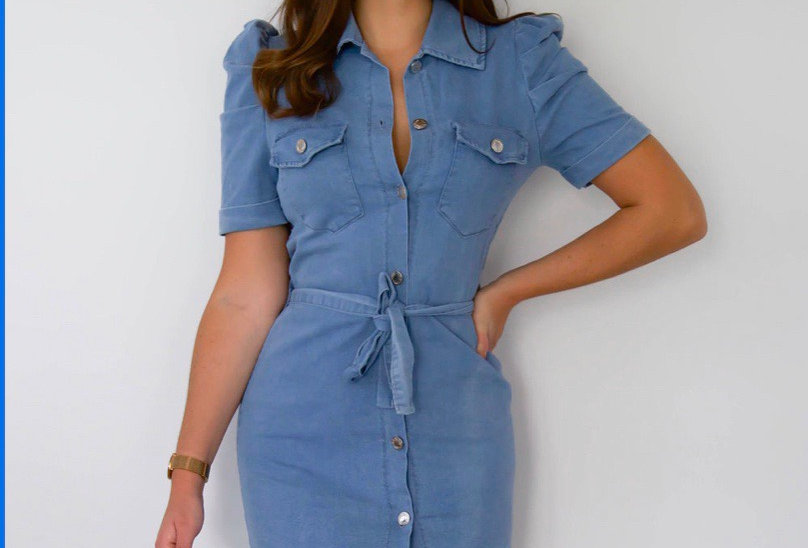 Buttoned Denim Dress