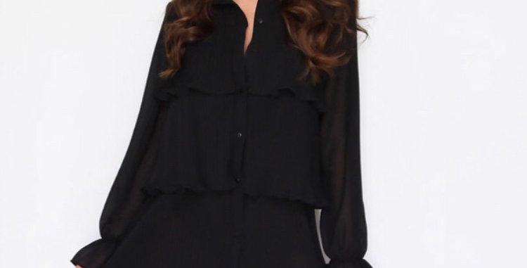 Black Ruffle Layered Dress