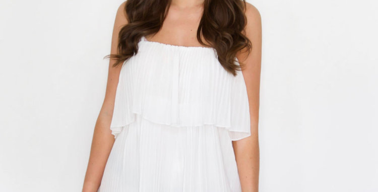 White Pleated Playsuit