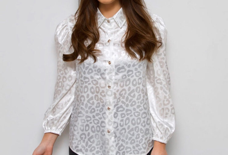 White Leopard Print Blouse
