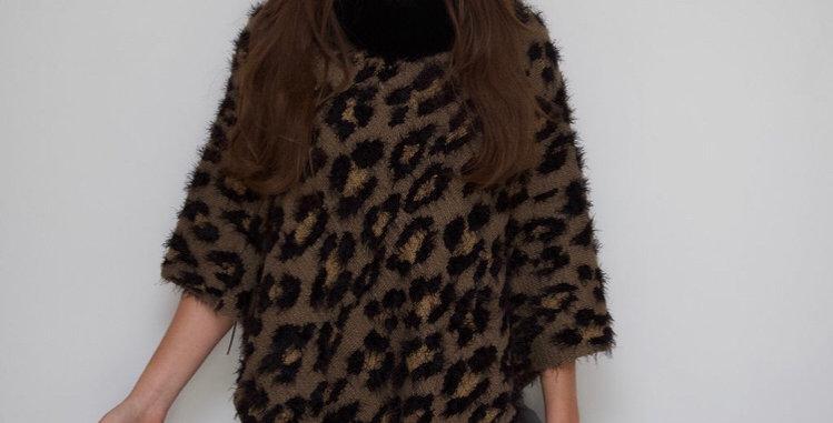 Khaki Leopard Print Poncho