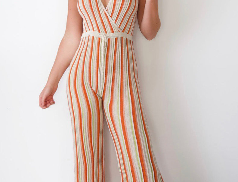 Orange Striped Glittery Jumpsuit
