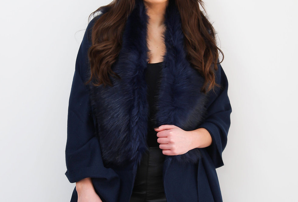 Navy Faux Fur Collar Poncho