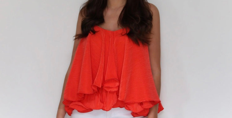 Red Ruffled Top
