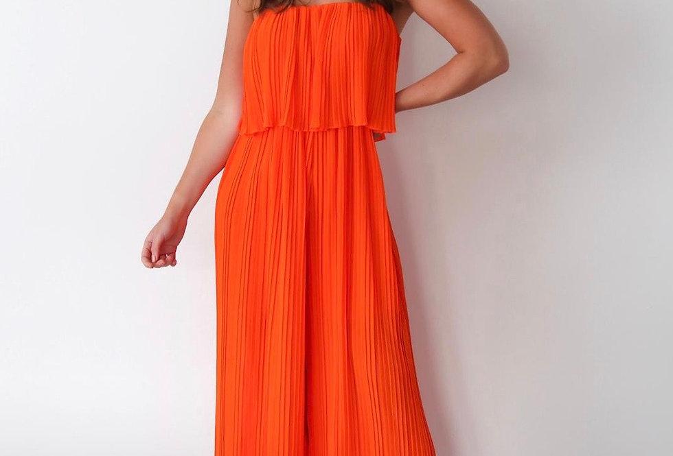 Orange pleated Jumpsuit