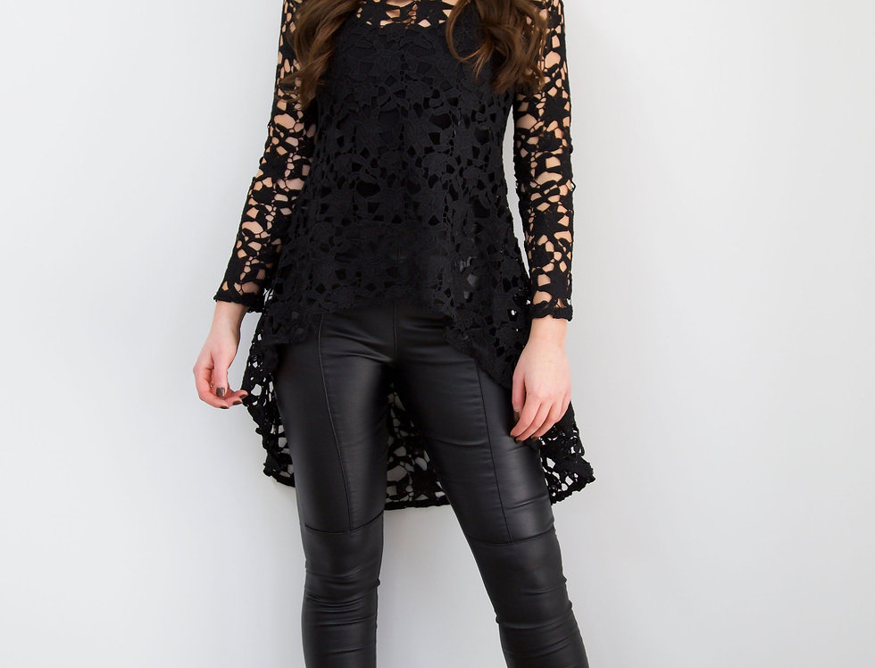 Black Lace High Low Draped Top With Long Sleeves