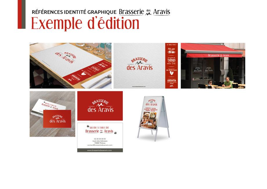 Charte graphique de la Brasserie des Aravis, restaurant situé à Thônes, en Haute-Savoie.