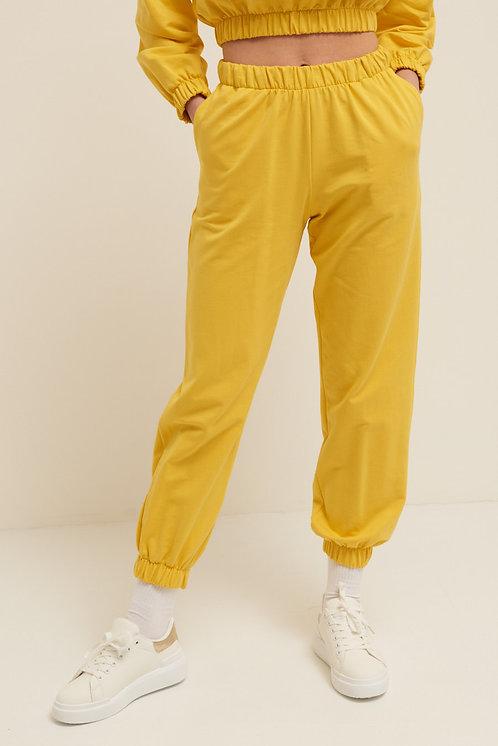 Pantalone felpa polsino giallo - Kikisix