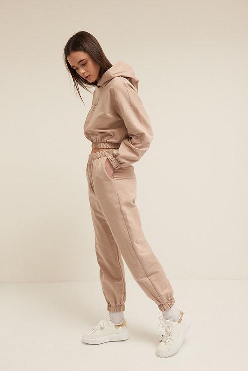 Pantalone felpa polsino cipria - Kikisix