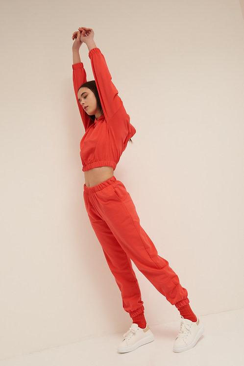 Pantalone felpa polsino corallo - Kikisix