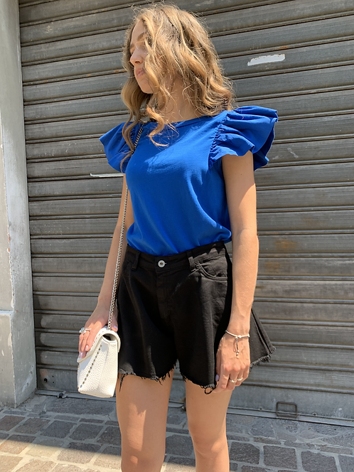 T-shirt con rouches bluette - Kikisix