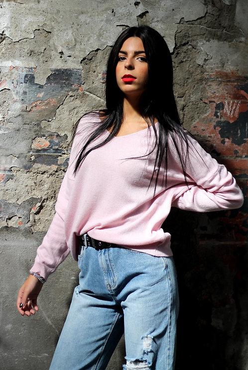 Maglioncino scollo V rosa - REBEL