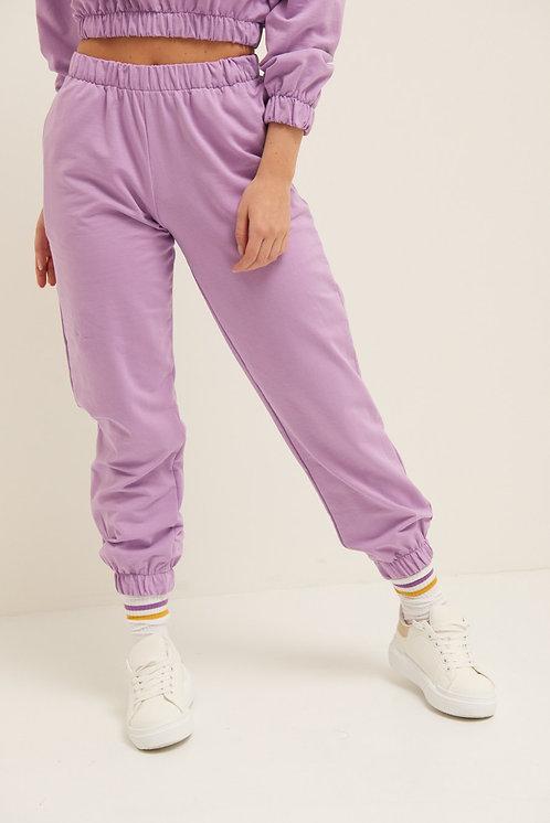 Pantalone felpa polsino lilla - Kikisix