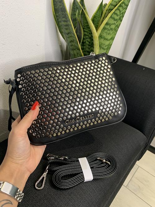 Pochette borchie piatte nero - Gio Cellini