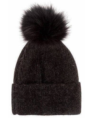 Cappello con pompon nero lurex