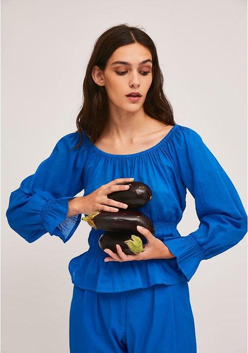 Blusa con balze bluette - CF