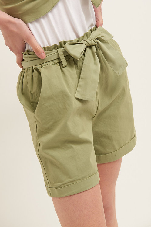 Short con cintura cotone salvia - Kikisix