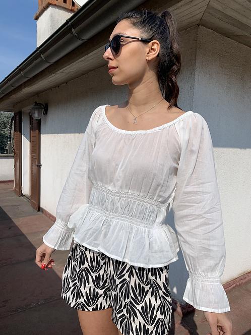 Blusa con balze bianca - CF